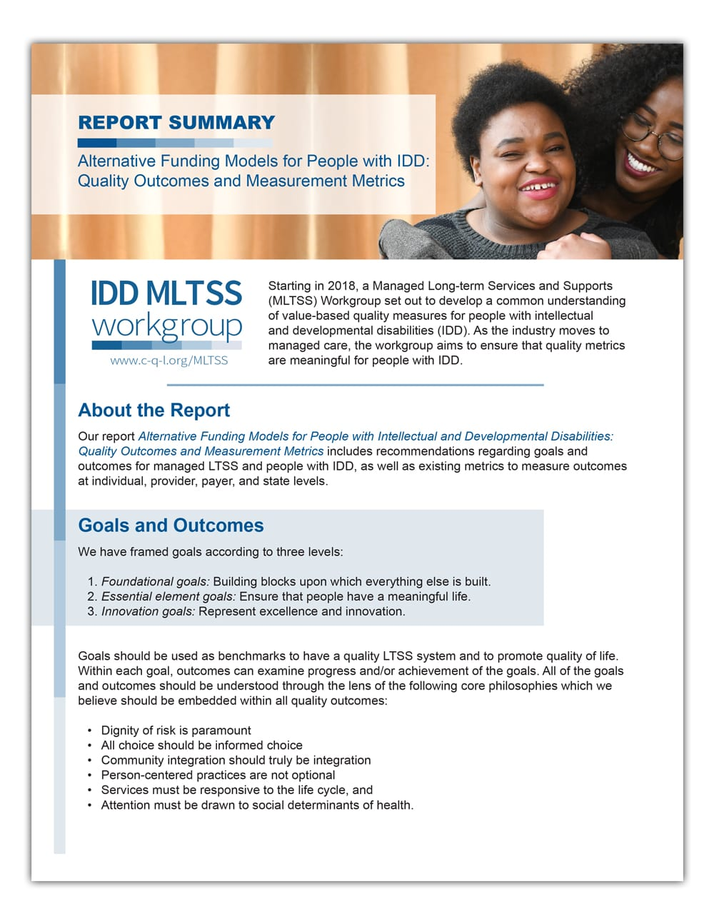 Cover of IDD MLTSS Workgroup summary document