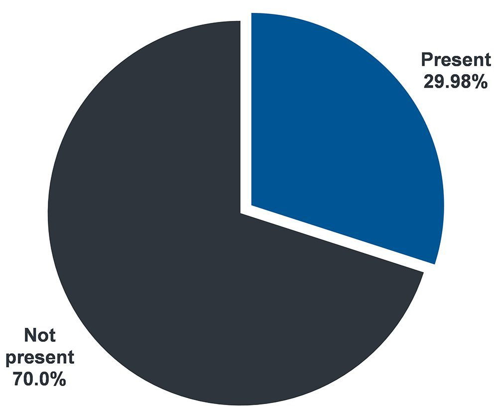 Pie chart showing that 29.98% of people supported participate in staff recruitment and retention programs