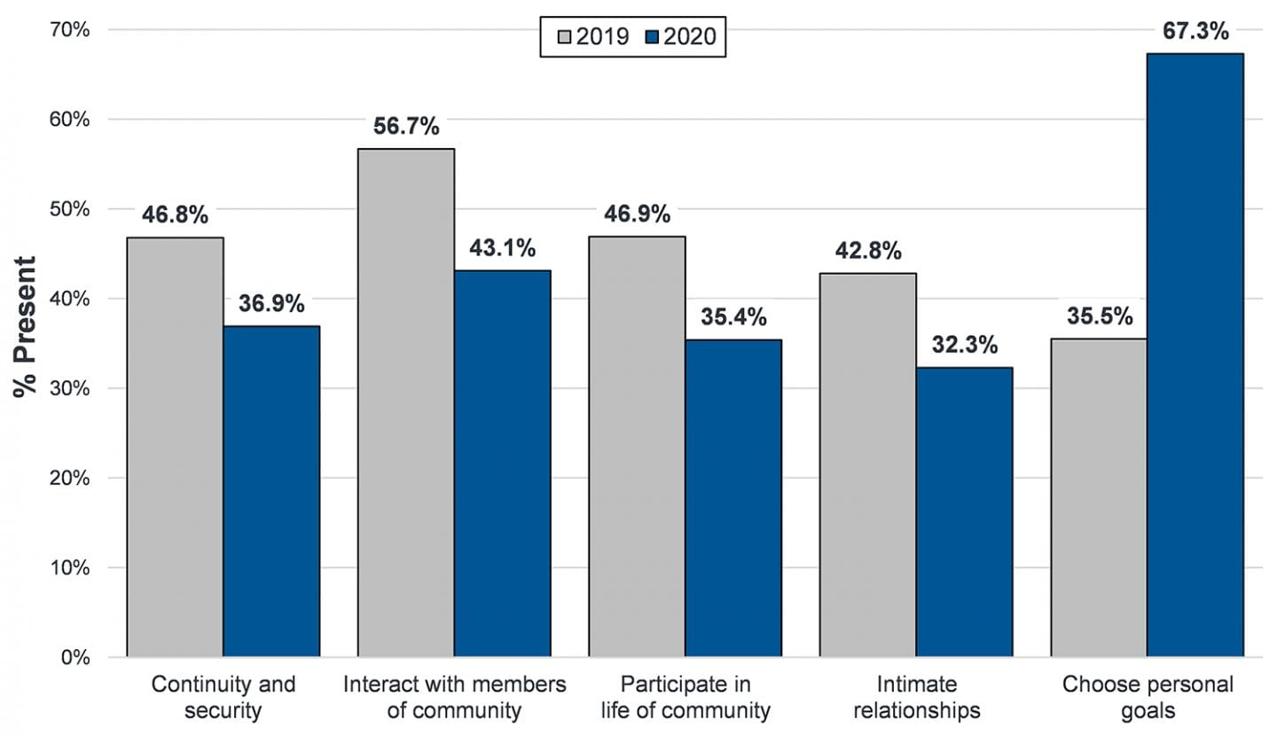 Figure shows decreases in: continuity and security; interact with members of community; participate in the life of the community; and intimate relationships in 2020 compared to 2019. Choose personal goals increased between 2019 and 2020.